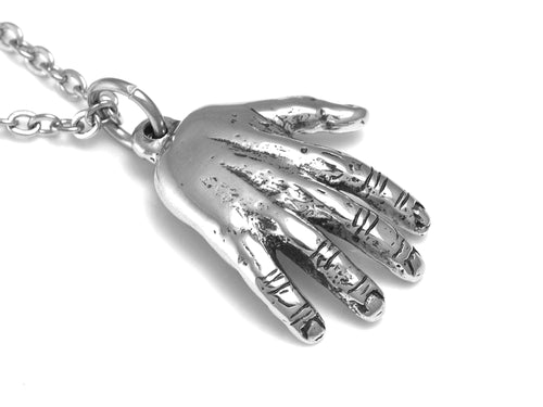 Human Hand Necklace, Anatomy Jewelry in Pewter