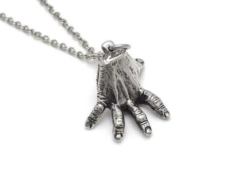 Standing Hand Necklace, Human Anatomy Jewelry in Pewter
