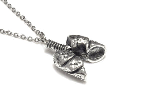 Small Lungs Necklace, Anatomical Jewelry in Pewter