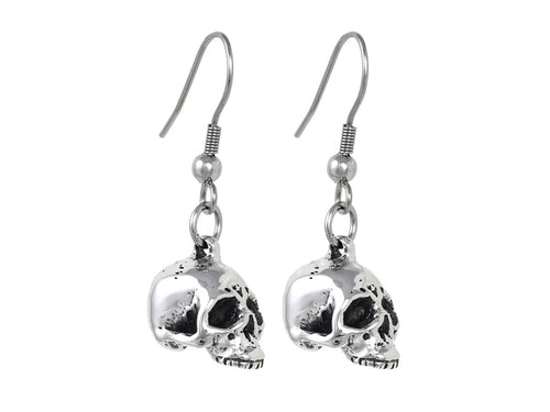 Human Skull Earrings, Anatomy Jewelry in Pewter