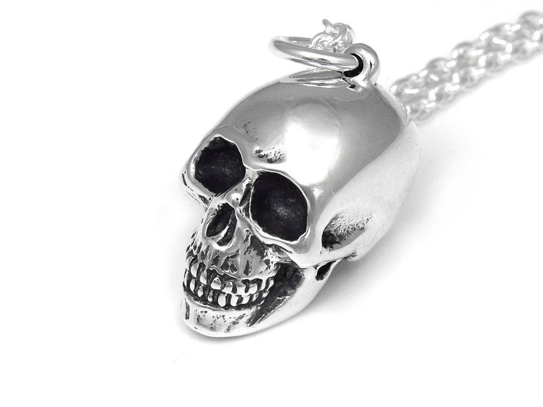 Human Skull Necklace, Rock Jewelry in Sterling Silver