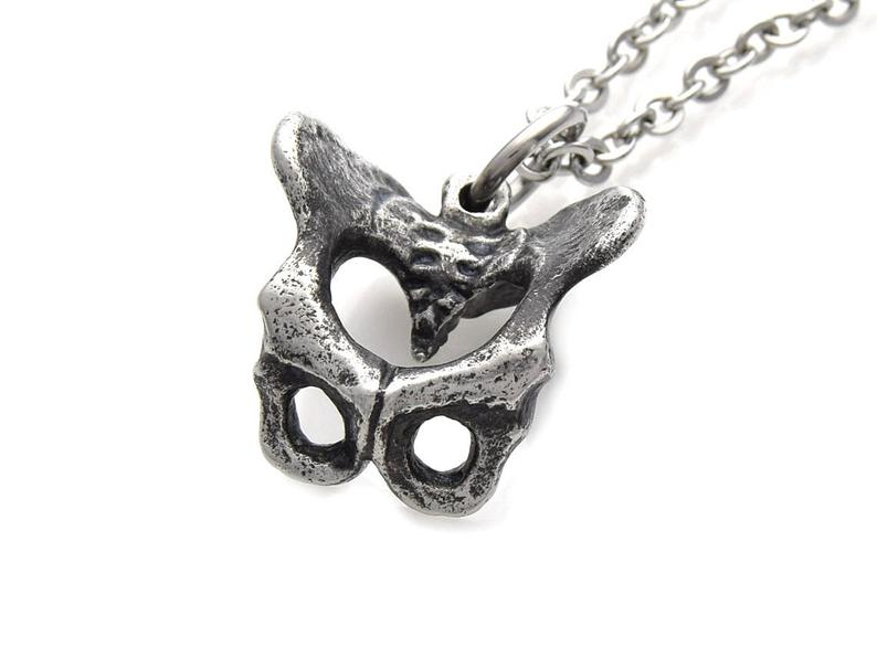 Antiqued Pelvis Necklace, Hip Bone Anatomy Jewelry in Pewter