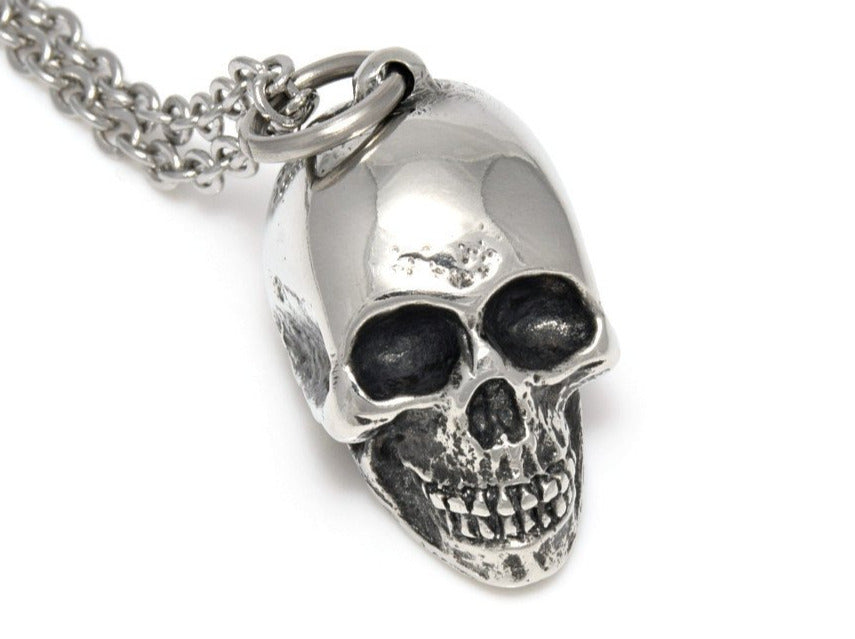 Human Skull Necklace, Rock Jewelry in Pewter