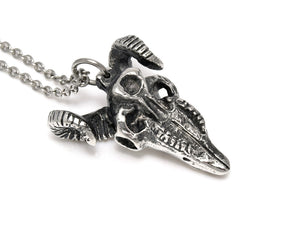 Ram Skull Necklace, Aries Head Rock Jewelry in Pewter