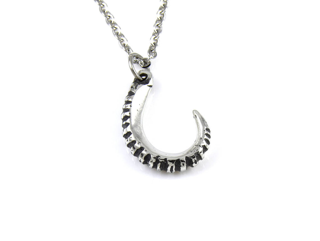 Goat Horn Necklace, Capricorn Zodiac Jewelry in Pewter