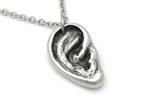 Human Ear Necklace, Anatomical Hearing Jewelry in Pewter