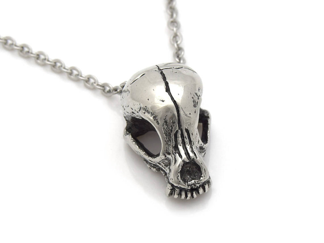 Chihuahua Skull Necklace, Animal Skeleton Jewelry in Pewter