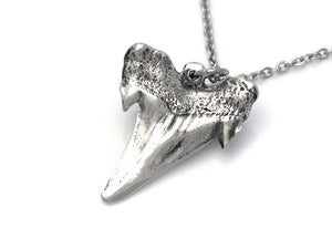 Shark Tooth Necklace, Ocean Animal Jewelry in Pewter
