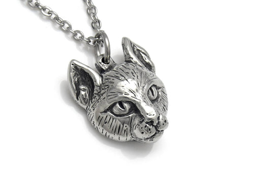 Cat Head Necklace, Animal Face Jewelry in Pewter