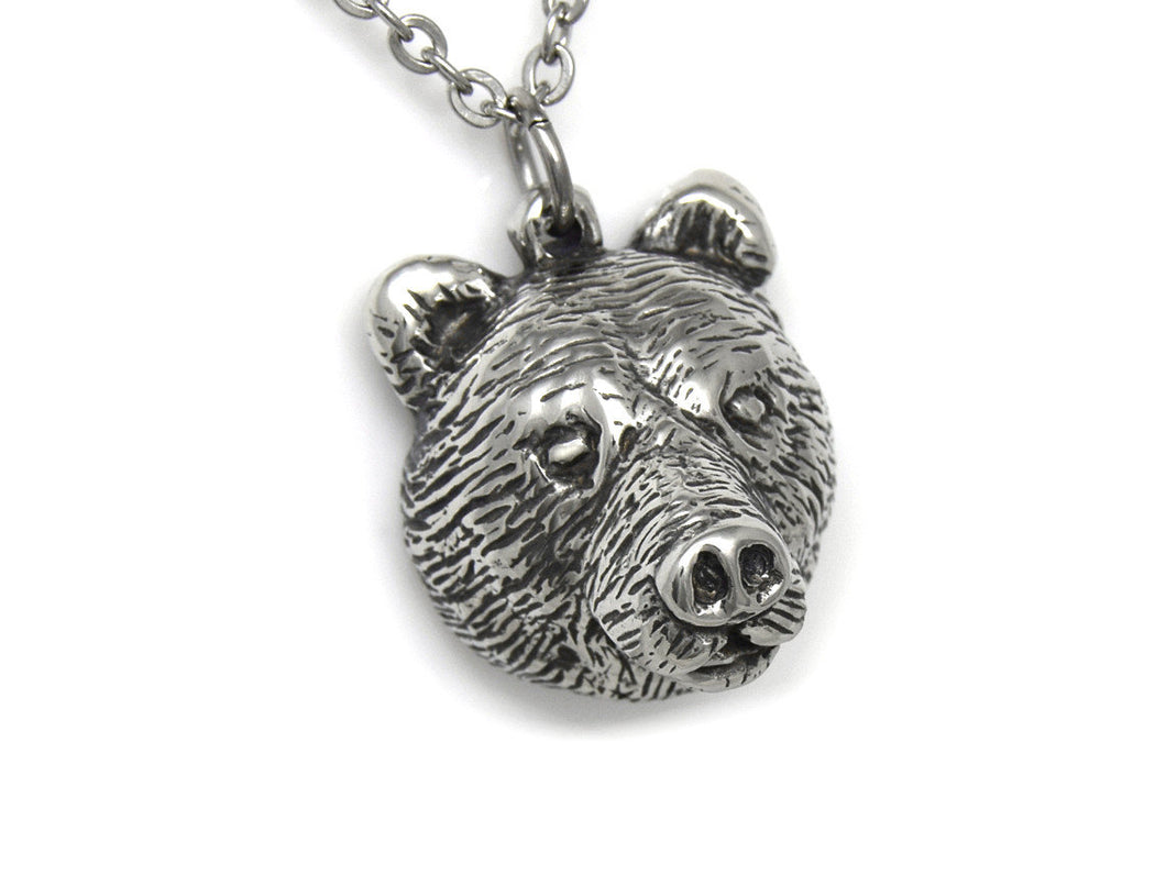 Bear Head Necklace, Animal Face Jewelry in Pewter