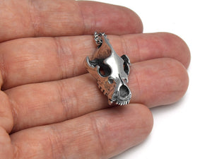 Hyena Skull Necklace, Animal Skeleton Jewelry in Pewter