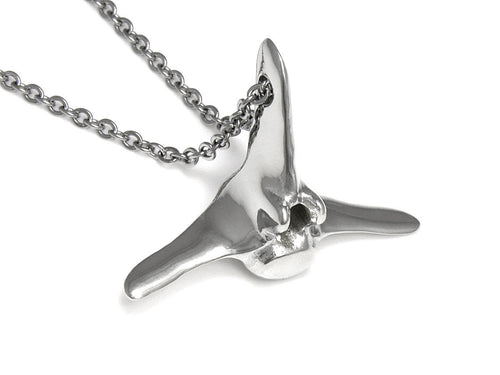 Blue Whale Vertebra Necklace, Animal Jewelry in Pewter