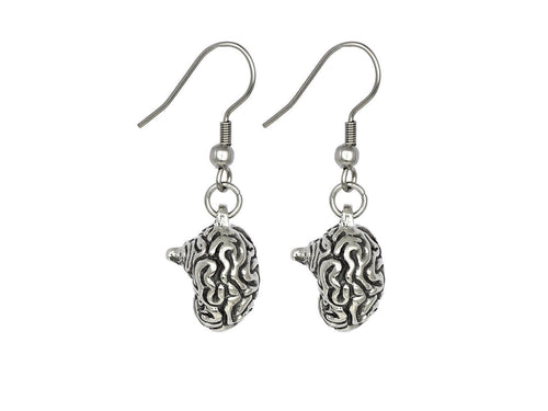 Human Brain Earrings, Anatomy Jewelry in Pewter