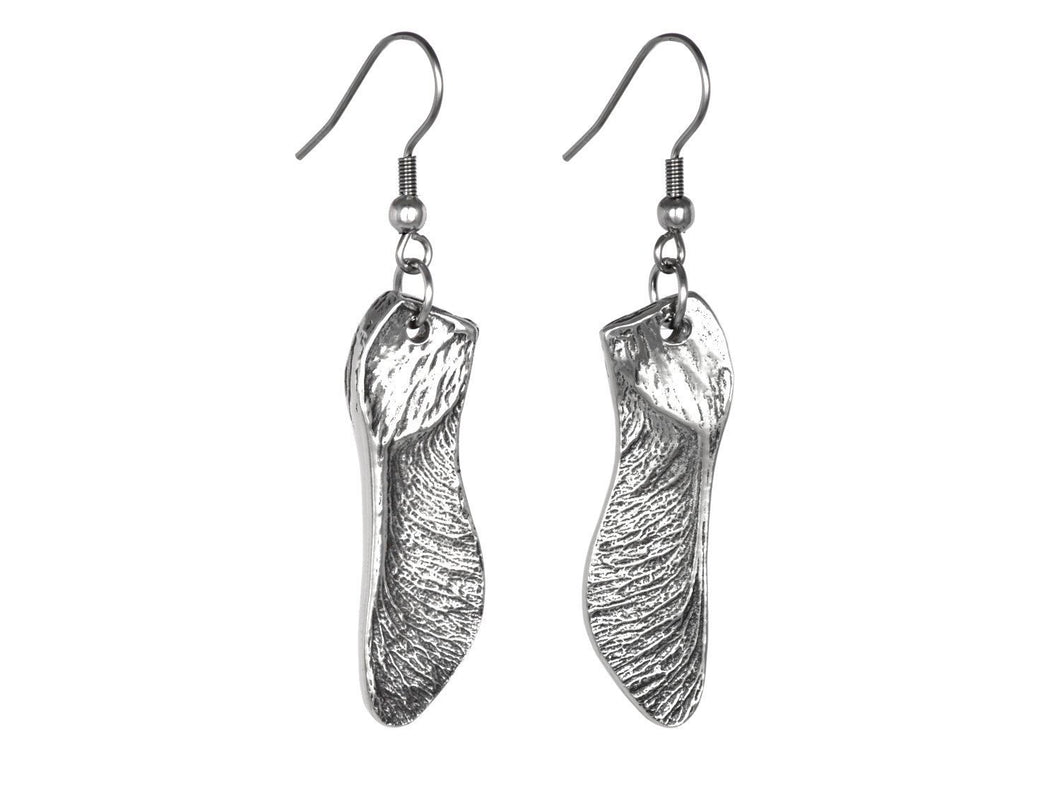 Maple Seed Earrings, Nature Jewelry in Pewter
