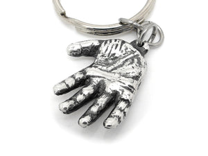 Human Hand Keychain, Anatomy Keyring in Pewter