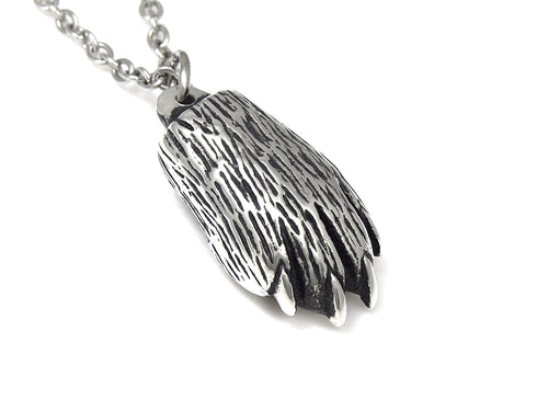 Lynx Paw Necklace, Animal Jewelry in Pewter