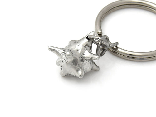 White Blood Cell Keychain, Biology Keyring in Pewter