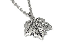 Maple Tree Leaf Necklace, Nature Jewelry in Pewter