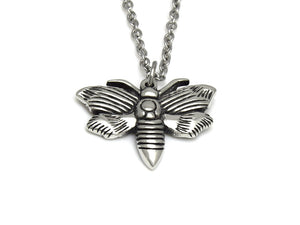 Moth Necklace, Animal Goth Jewelry in Pewter