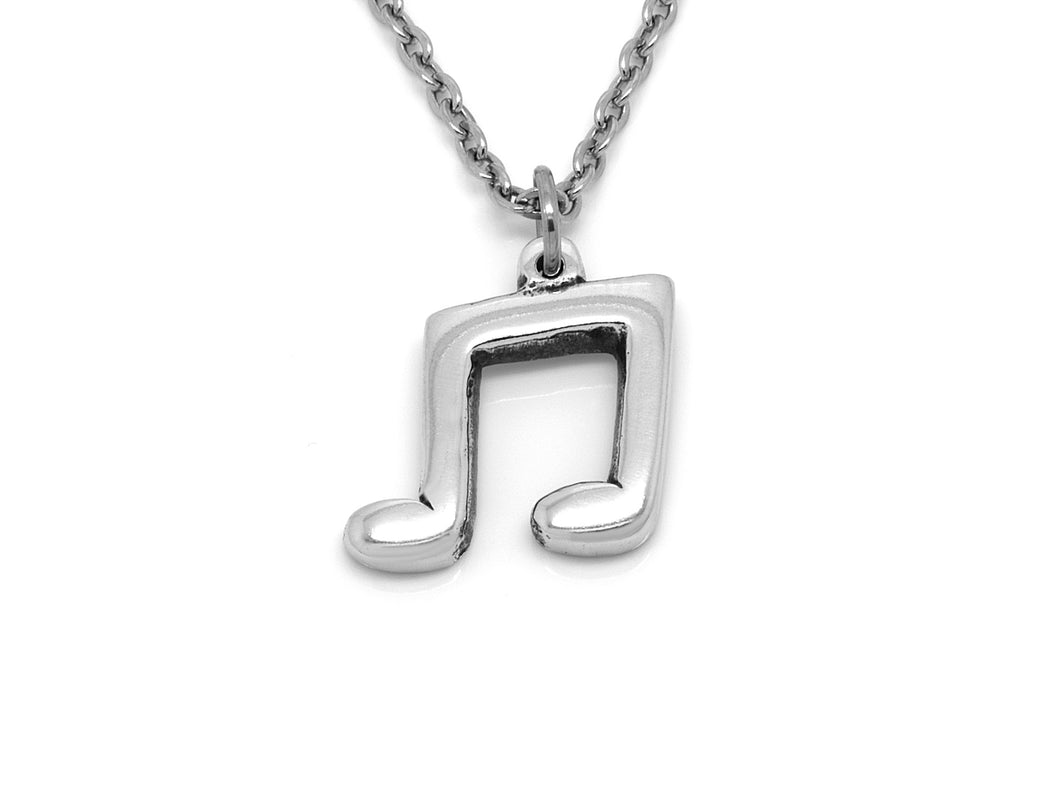 Musical Note Necklace, Musician Jewelry in Pewter