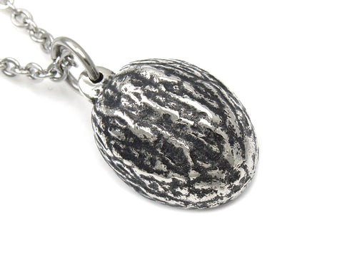 Nutmeg Necklace, Spice Jewelry in Pewter