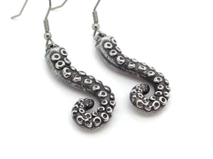 Curled Tentacle Earrings, Octopus Jewelry in Pewter