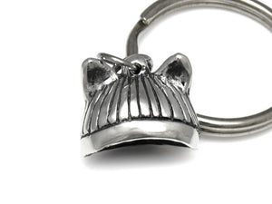 Pussyhat Keychain, Feminist Keyring in Pewter
