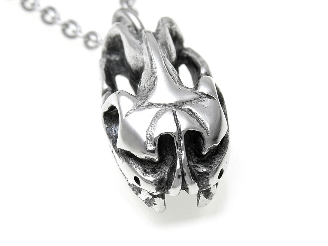 Python Skull Necklace, Animal Jewelry in Pewter