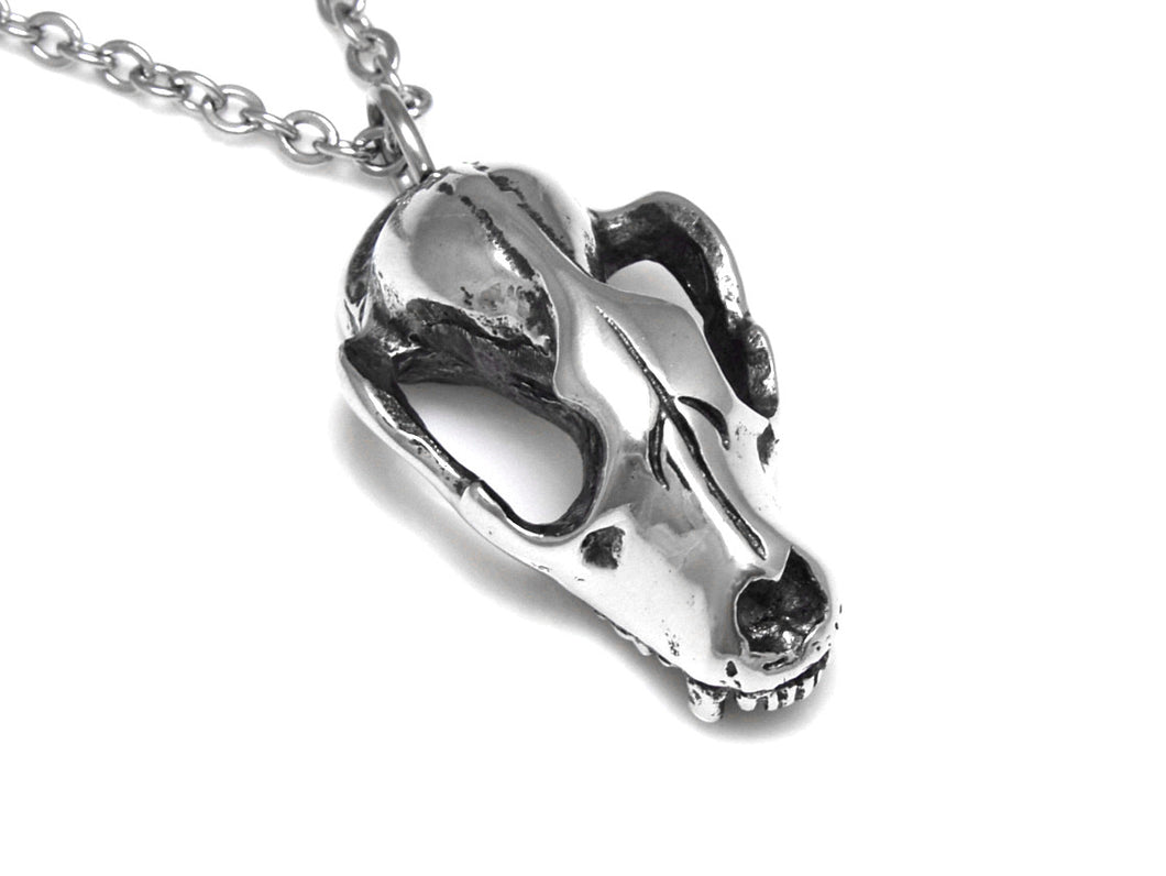 Raccoon Skull Necklace, Animal Jewelry in Pewter