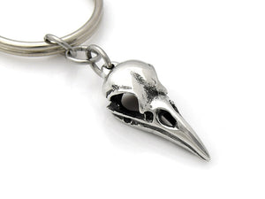 Raven Skull Keychain, Bird Skeleton Keychain in Pewter