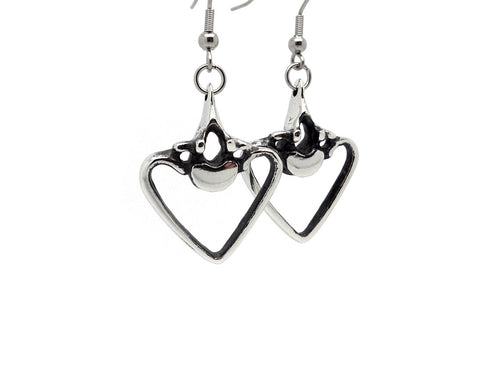 Vertebra and Ribs Earrings, Anatomy Jewelry in Pewter