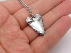 Great White Shark Tooth Necklace, Animal Jewelry in Pewter