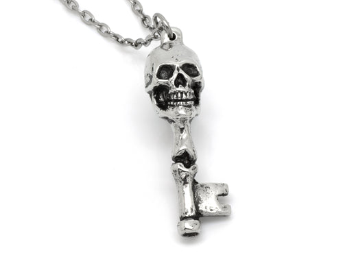 Skull and Bones Skeleton Key Pendant Necklace