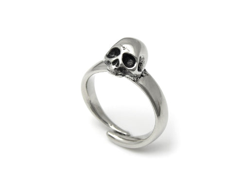 Human Skull Ring, Skeleton Anatomy Jewelry in Pewter