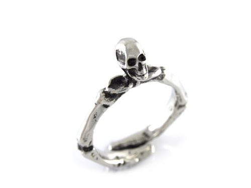 Human Skull and Skeleton Arms Ring, Rock Jewelry in Pewter