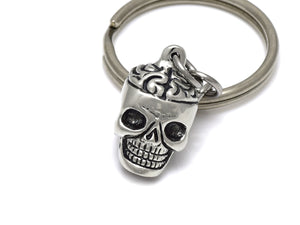 Skull and Brain Keychain, Zombie Keyring in Pewter