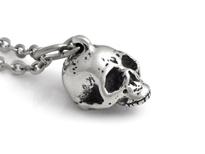 Small Human Skull Necklace, Goth Jewelry in Pewter