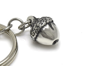 Tiny Acorn Keychain, Oak Nature Keyring in Pewter