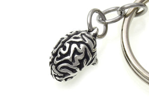 Small Brain Keychain, Anatomy Keyring in Pewter
