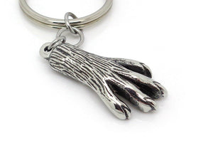 Squirrel Paw Keychain, Animal Keyring in Pewter
