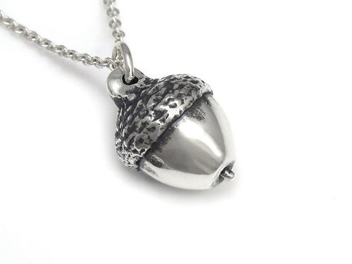 Acorn Necklace, Oak Tree Jewelry in Sterling Silver