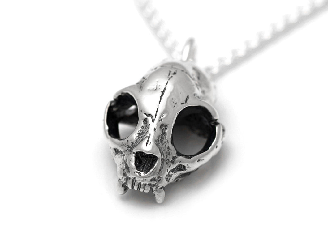 Cat Skull Necklace, Animal Skeleton Jewelry in Sterling Silver