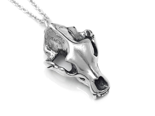 Grizzly Bear Skull Necklace, Animal Cranium Jewelry in Sterling Silver