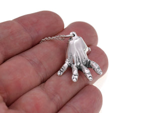 Sterling Silver Human Standing Hand Necklace, Anatomy Jewelry