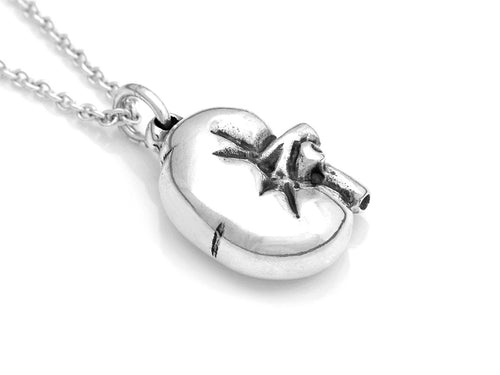 Small Kidney Necklace, Anatomy Jewelry in Sterling Silver