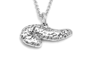 Pancreas Charm Necklace, Anatomy Jewelry in Sterling Silver