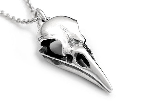 Raven Skull Necklace, Ornithology Bird Jewelry in Sterling Silver