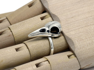 Raven Skull Ring, Bird Jewelry in Sterling Silver