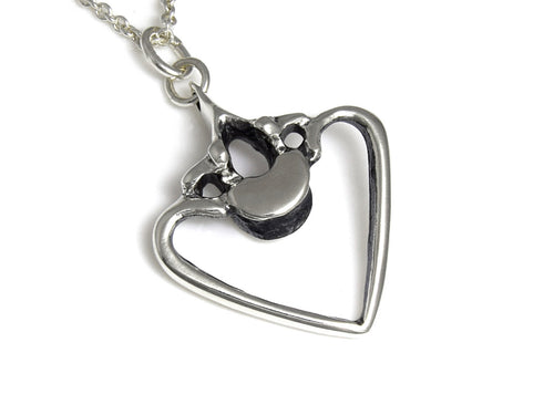 Vertebra and Rib Heart Necklace, Anatomy Jewelry in Sterling Silver