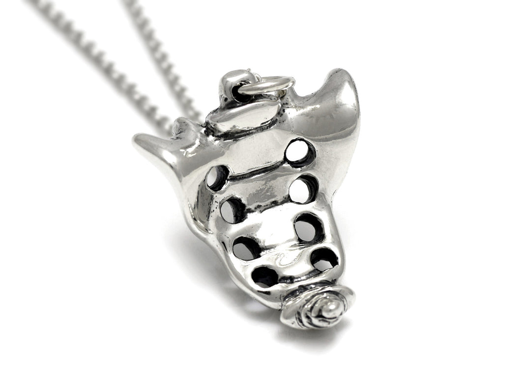 Sacrum Bone Necklace, Skeleton Jewelry in Sterling Silver